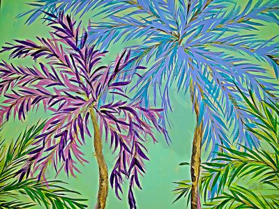 Mixed Media Canvas Print featuring Palm Trees
