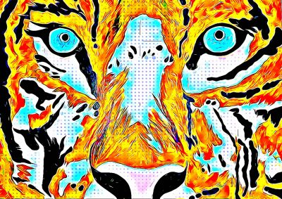Mixed Media Canvas Print featuring a Tiger