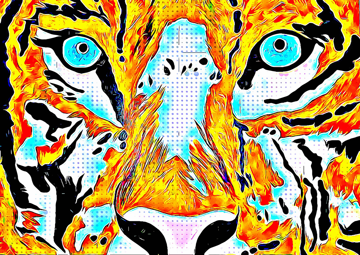 Mixed Media Canvas Print featuring a Tiger